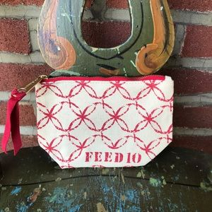 Clarins Feed 10 Canvas Red Print Travel/Clutch Bag